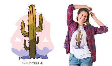 Diseño de camiseta de ilustración de cactus