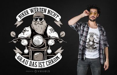 Ilustração de motociclista com citação alemã e design de camiseta