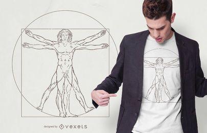 Design de t-shirt de homem vitruviano