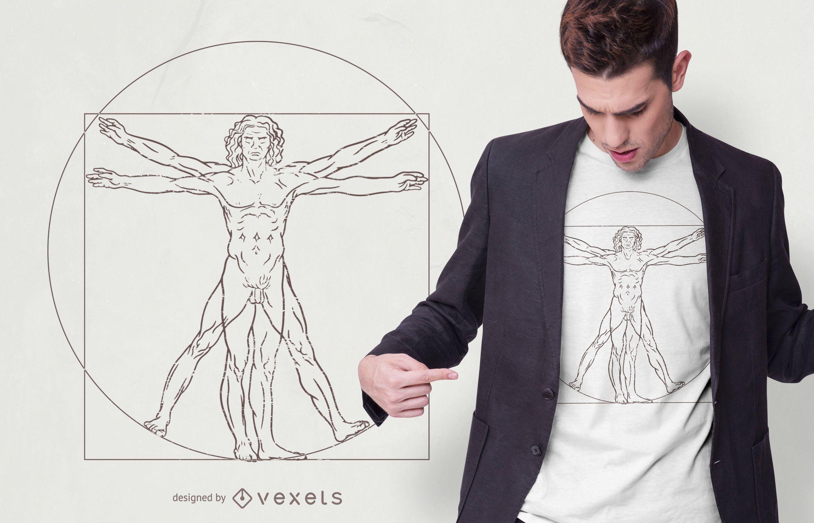 Diseño de camiseta de hombre de Vitruvio