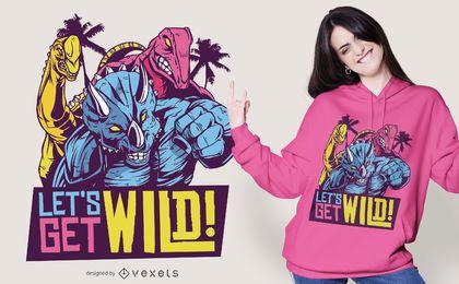 Design de camisetas com citações dos dinossauros selvagens dos anos 80