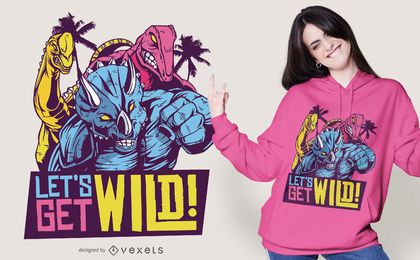 Wild 80s Dinosaurs Quote T-shirt Design