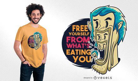 Diseño de camiseta de cita de hombre comiendo hombre
