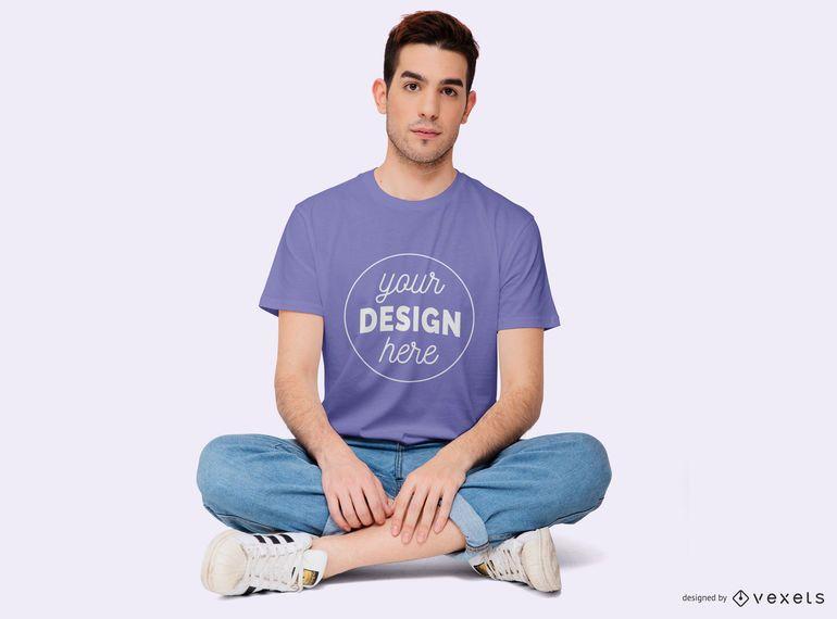 Boy Sitting With Legs Crossed T-shirt Mockup