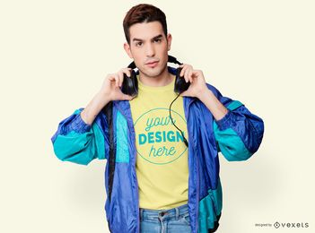 Modelo de camiseta retrô homem de jaqueta