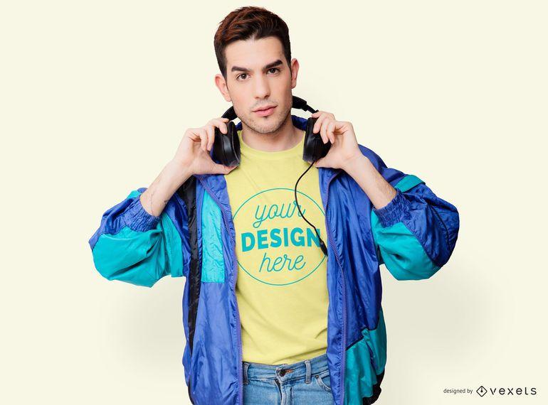 Retro Jacket Man T-shirt Mockup