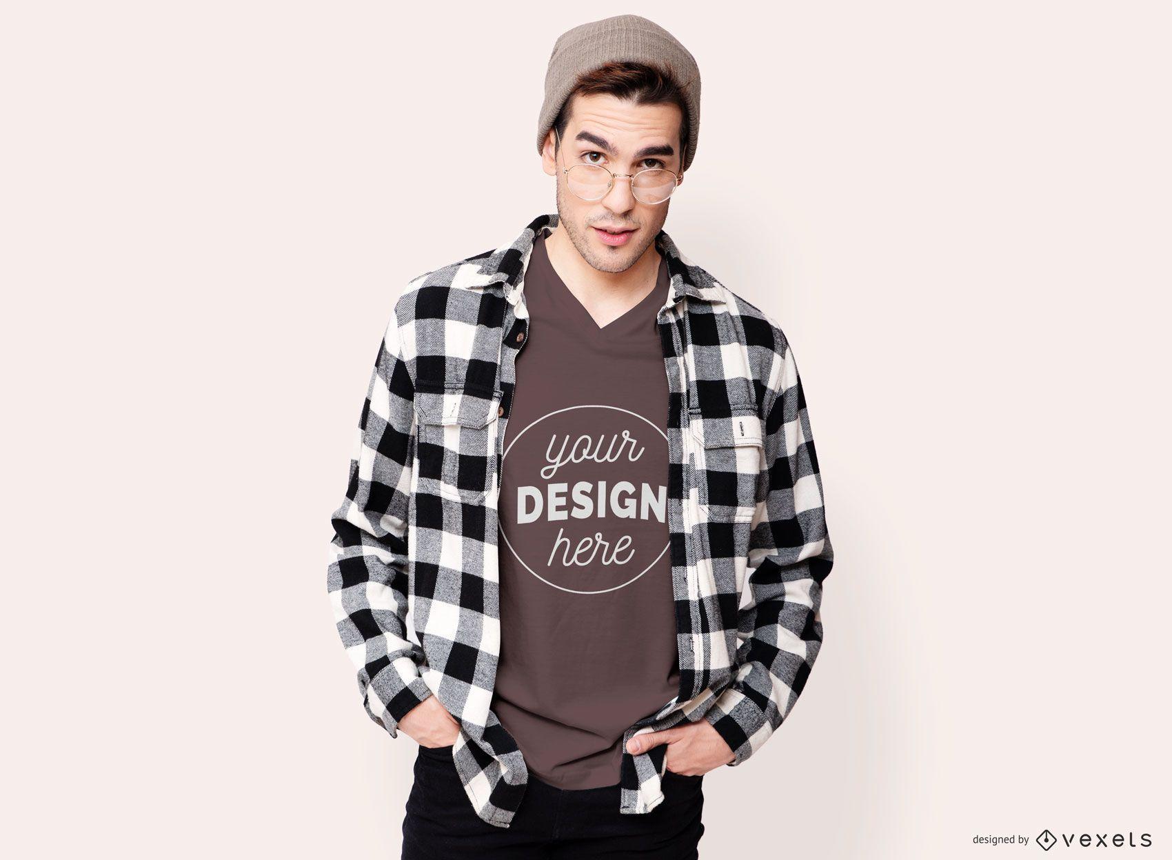 Man Wearing Flannel Shirt T-shirt Mockup