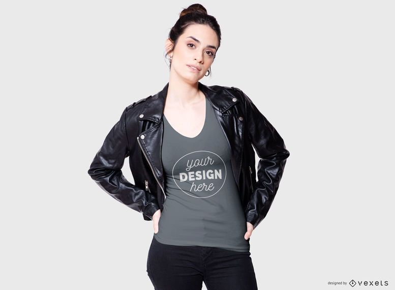 Cool Woman T-shirt Mockup