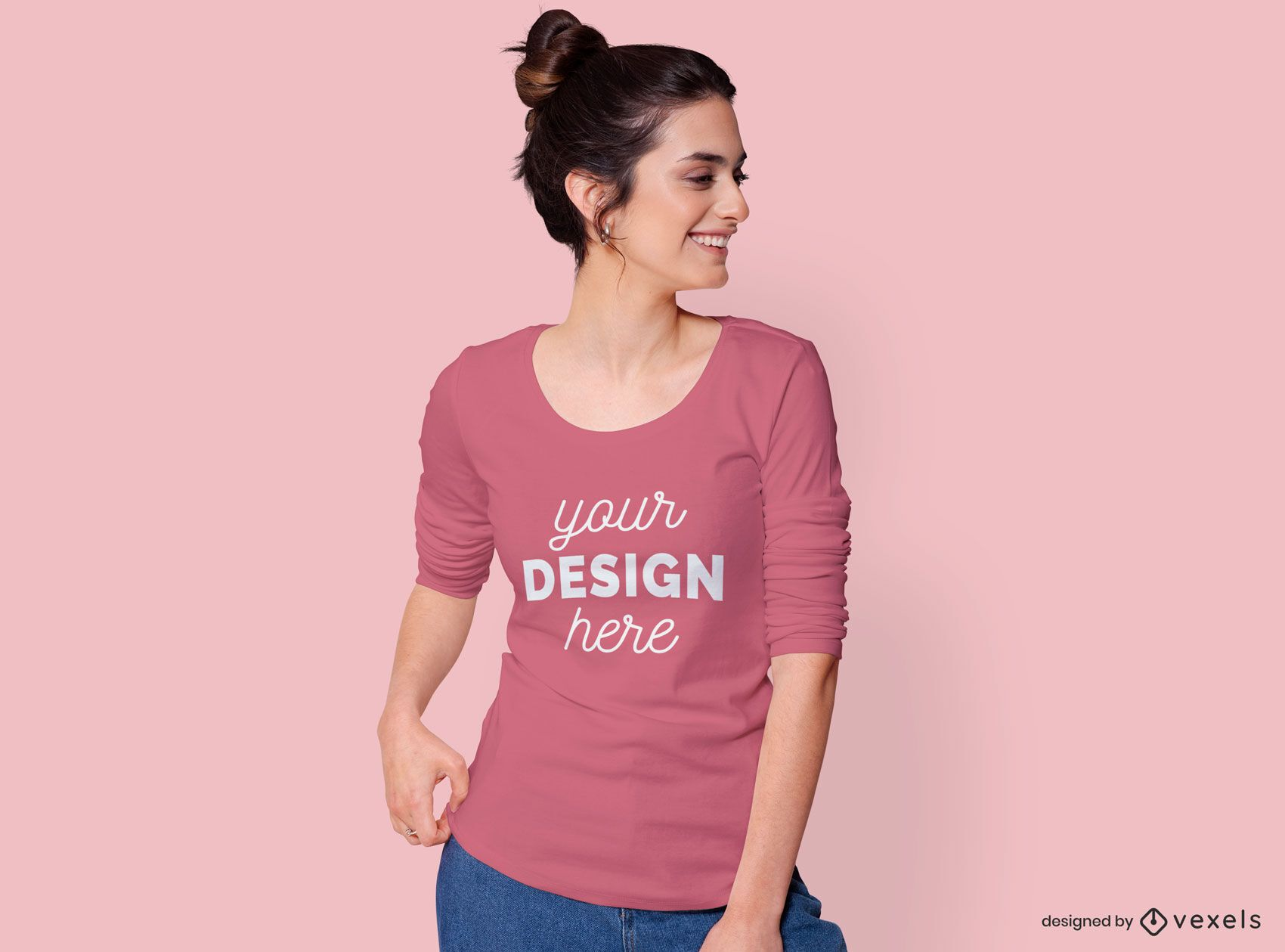 Woman Looking Sideways T-shirt Mockup