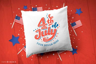 4th of july pillow mockup