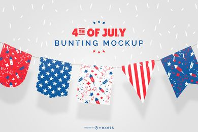 Bandeira de estamenha Design de maquete de 4 de julho
