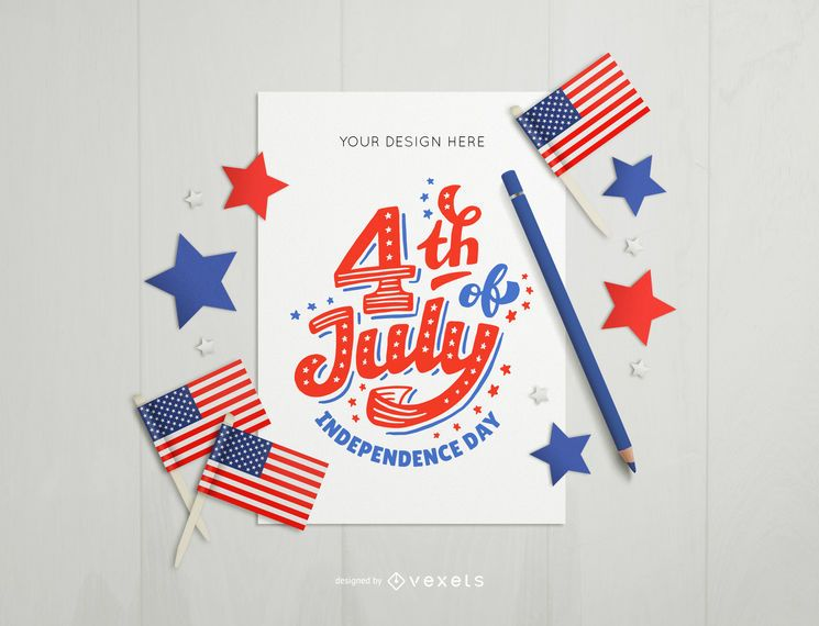 4th of july card mockup composition