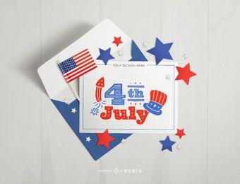 4 de julho maquete de cartão e envelope