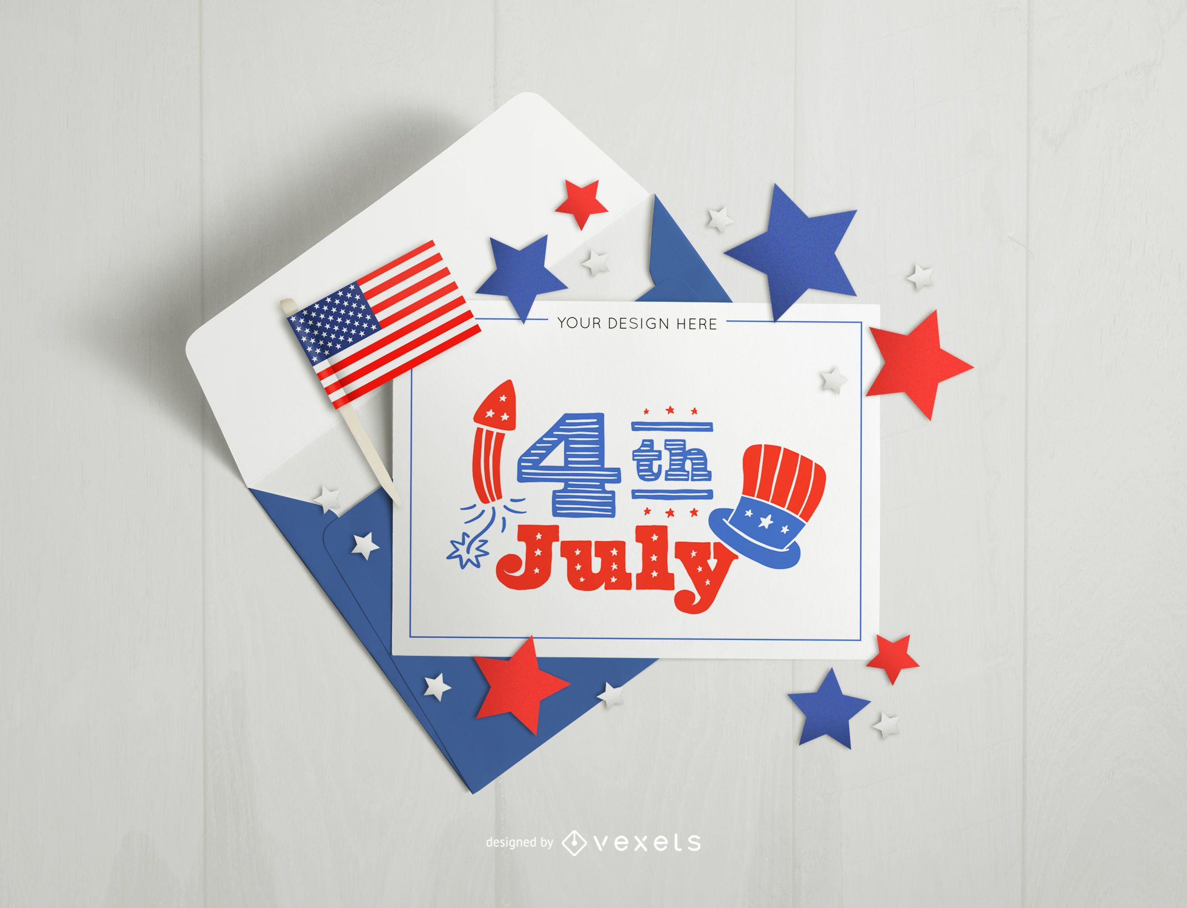 4th of july card and envelope mockup