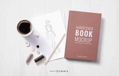 Design de maquete de livro de capa dura