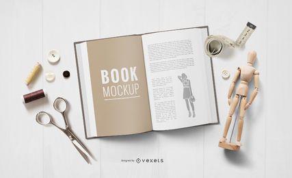 Maqueta de libro abierto de Crafting Elements