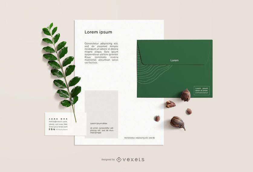 Diseño de maqueta de papelería de elementos de naturaleza