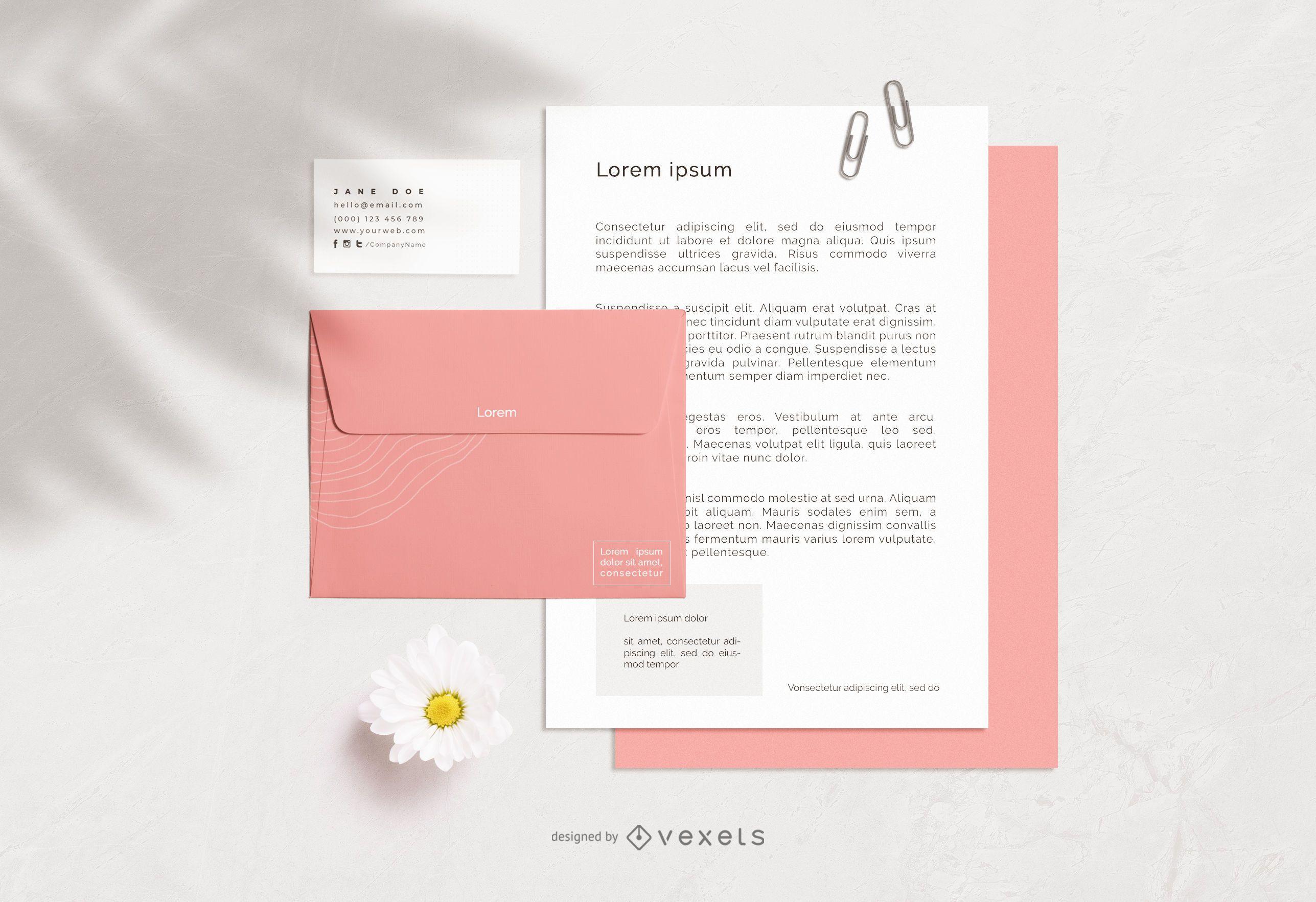 Stationery Elements Mockup Design