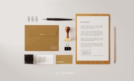 Modelo de composição de papelaria de marca