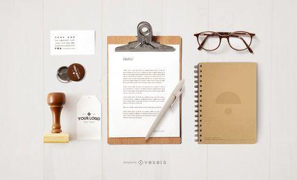 Design de maquete de artigos de papelaria de escritório