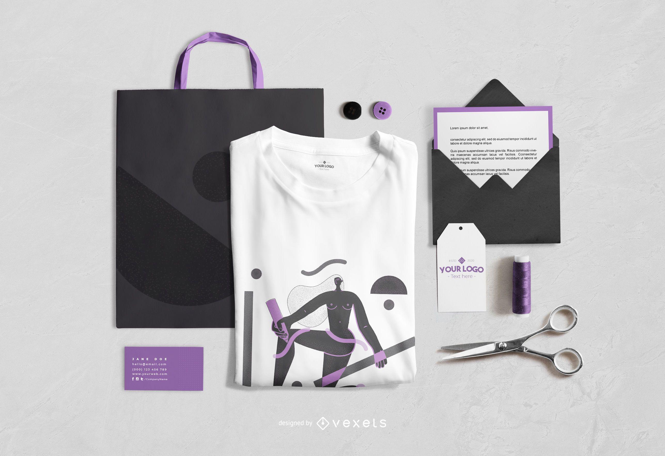 Maqueta de mezcla de elementos de marca