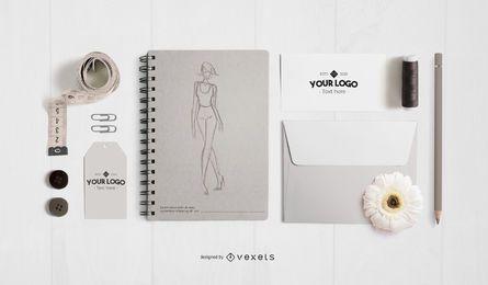 Design de maquete de elementos de estúdio de moda