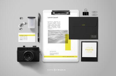 Composición de maqueta de marca de elementos de fotógrafo