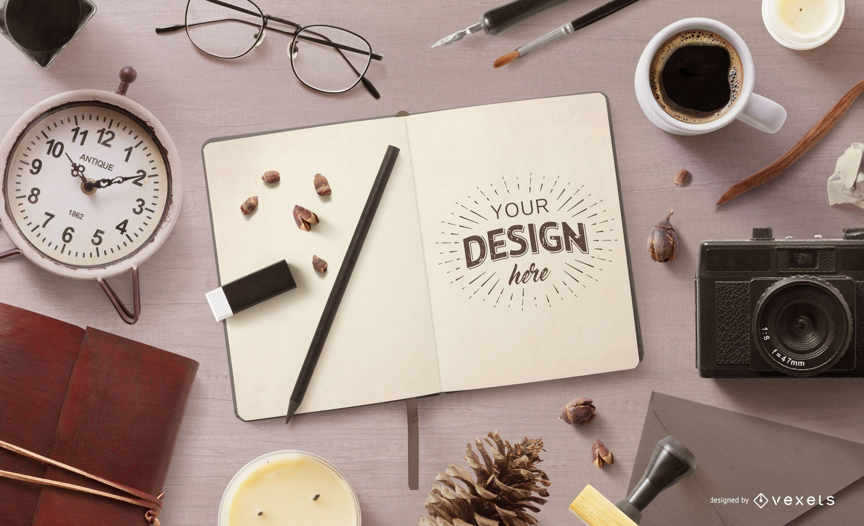 Design de maquete interior de notebook vintage