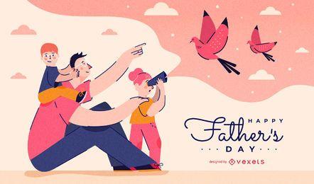 Projeto de ilustração feliz dia dos pais