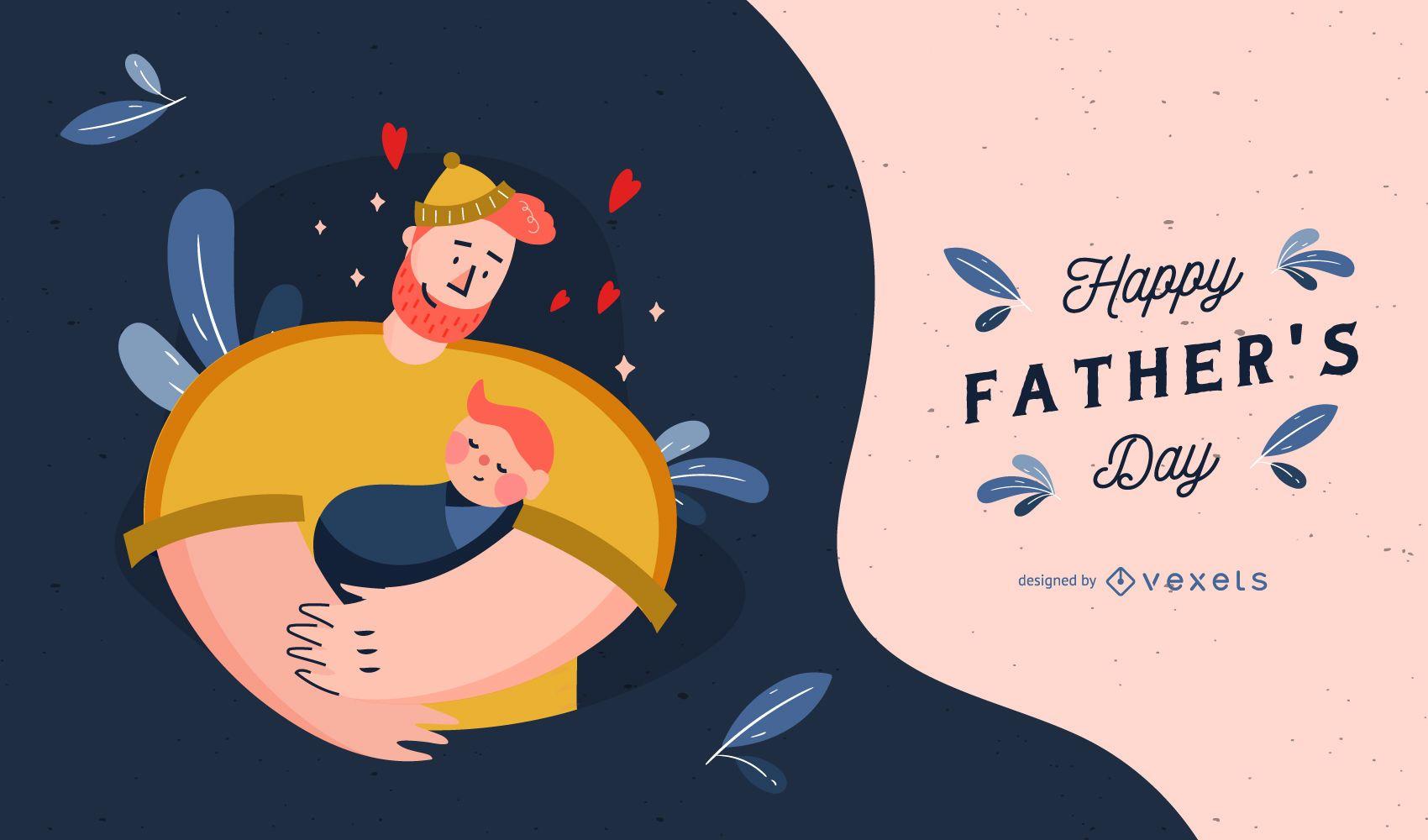 Ilustração fofa do dia dos pais