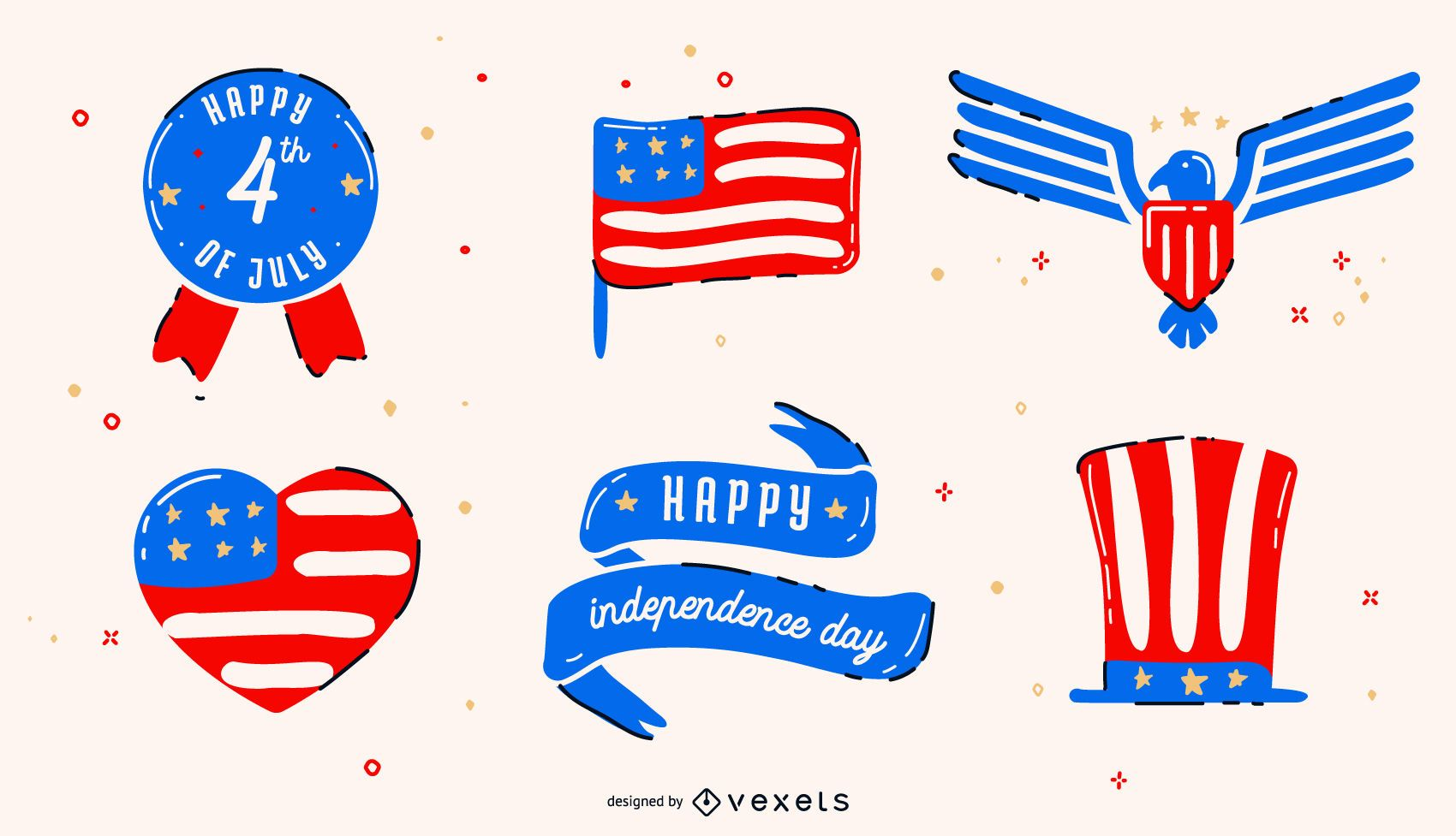 Conjunto de elementos del día de la independencia