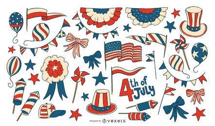 Coleção de elementos do Dia da Independência