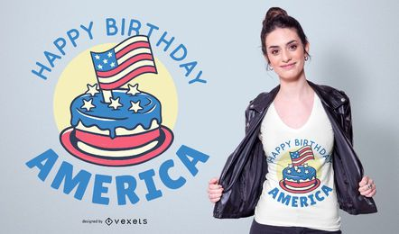 Diseño de camiseta Happy Birthday America