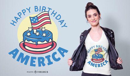 Feliz aniversário América Design de t-shirt