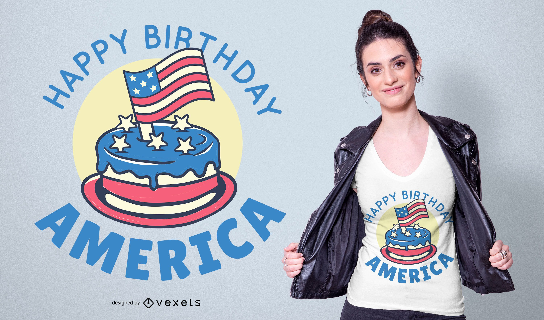 Diseño de camiseta Happy Birthday America