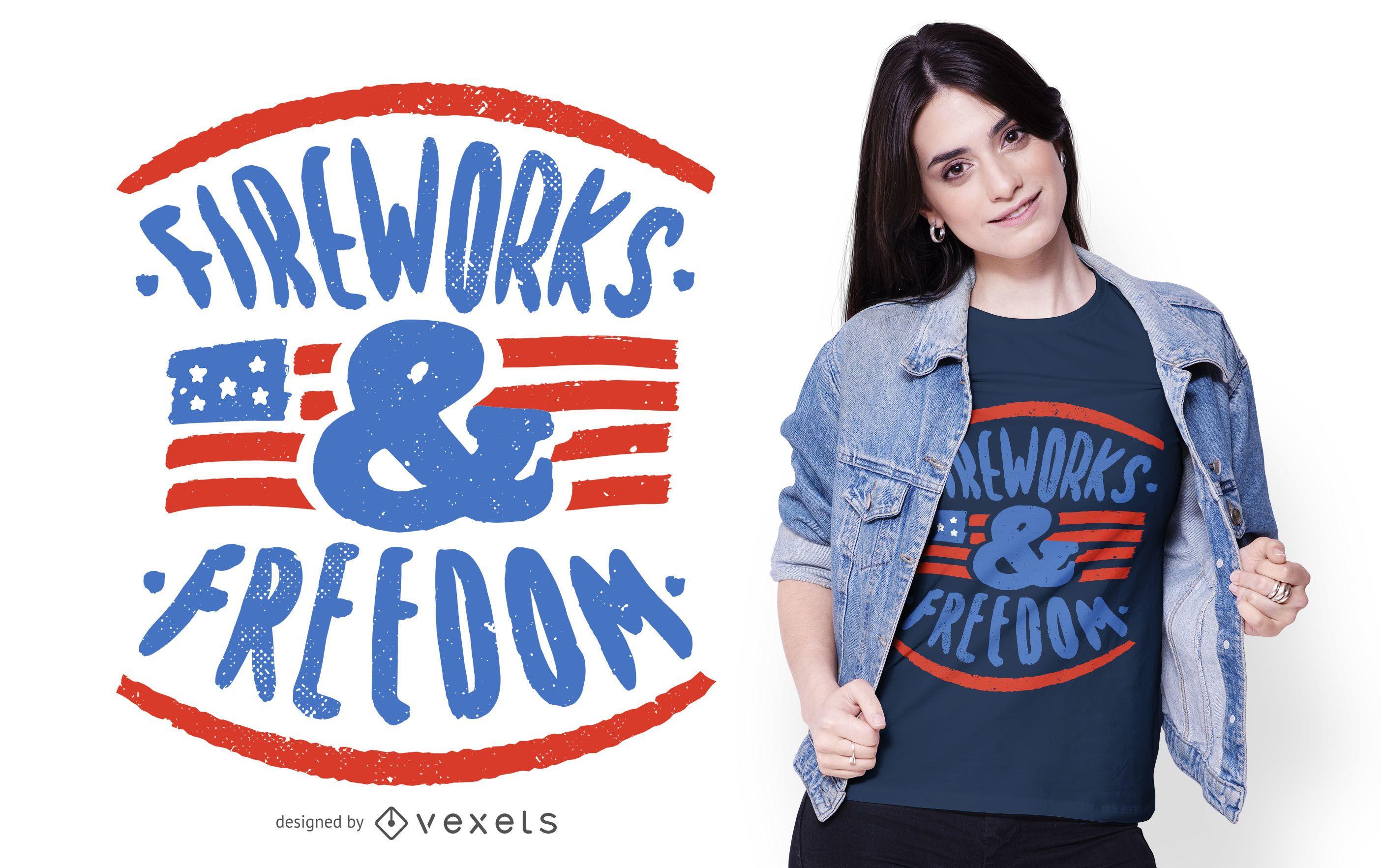 Diseño de camiseta de texto del 4 de julio