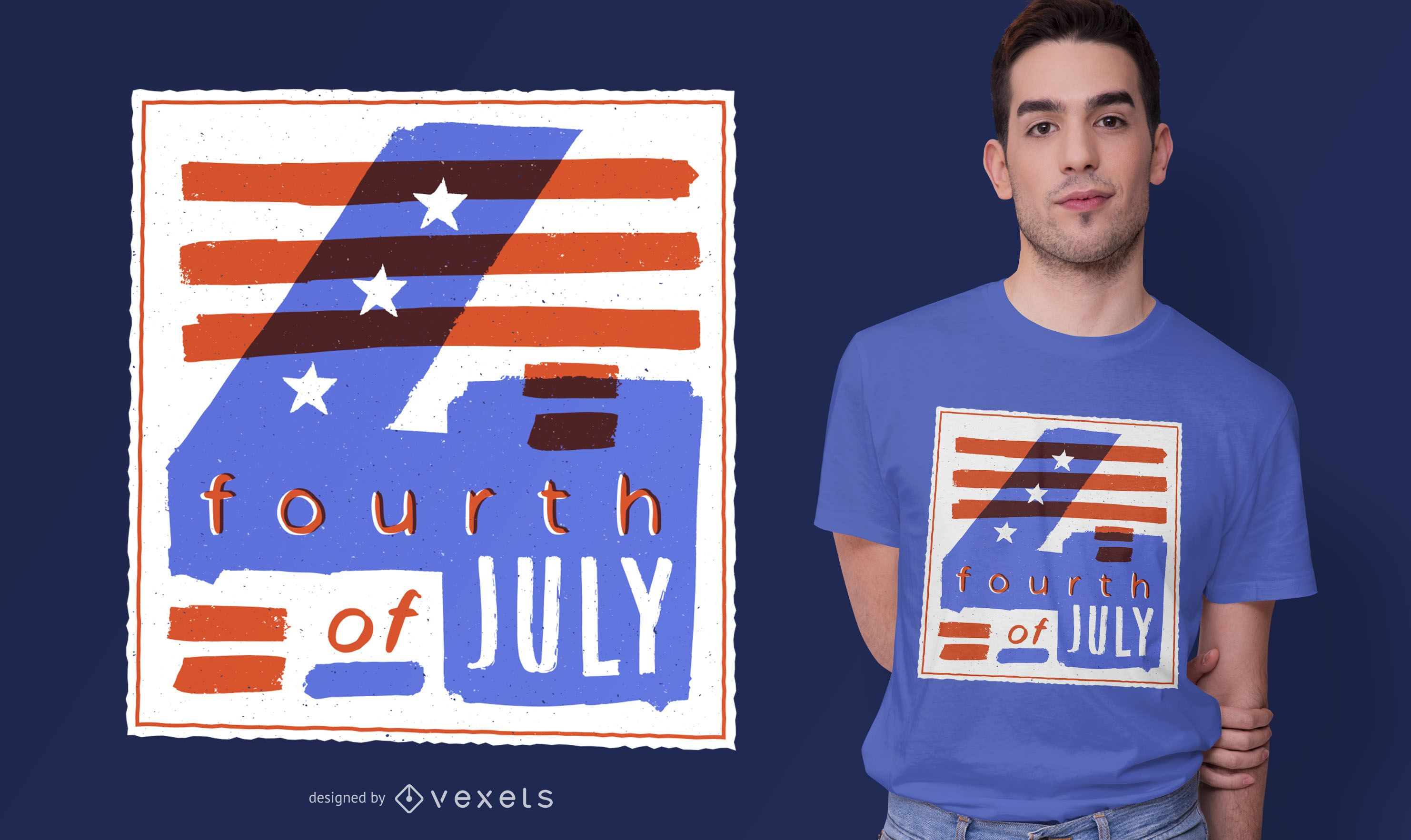 4th of July Illustration T-shirt Design