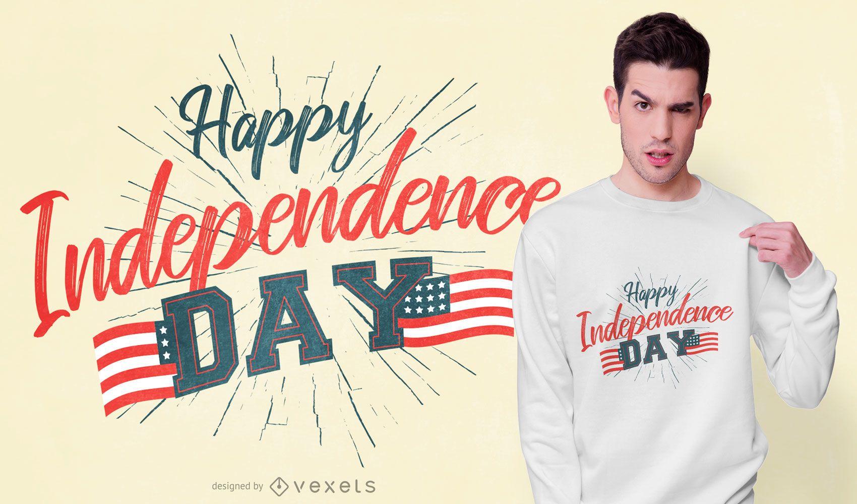 Diseño de camiseta de texto feliz día de la independencia