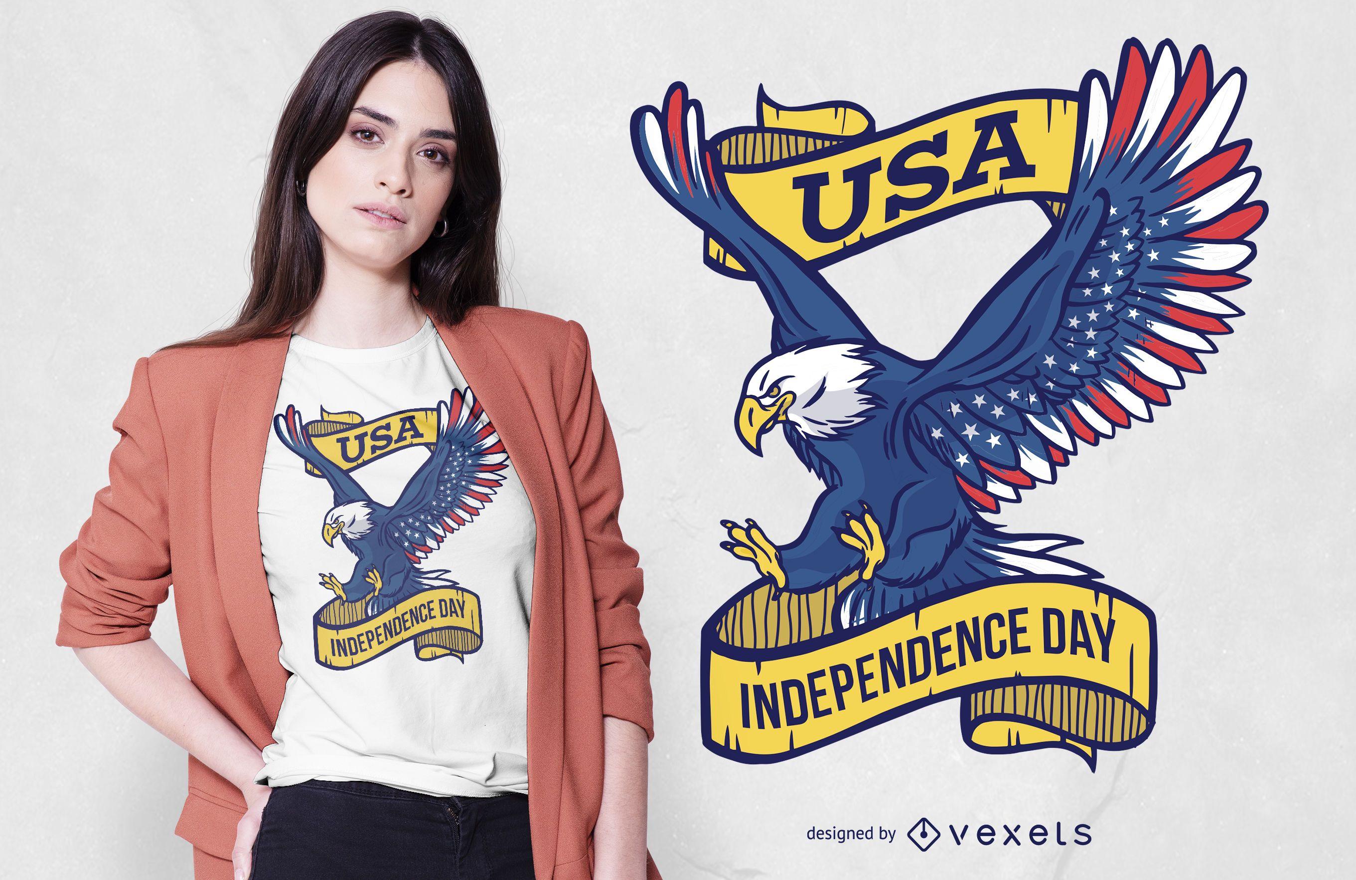 Diseño de camiseta de águila del día de la independencia de EE. UU.