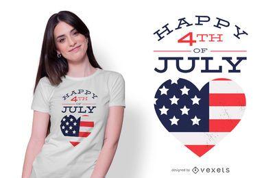Diseño feliz de la camiseta del 4 de julio