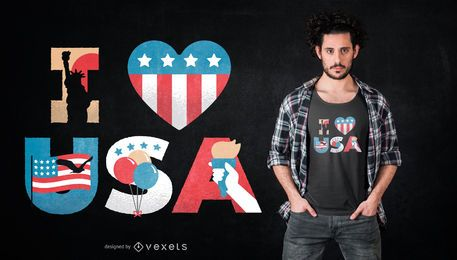 Diseño de camiseta I Love USA