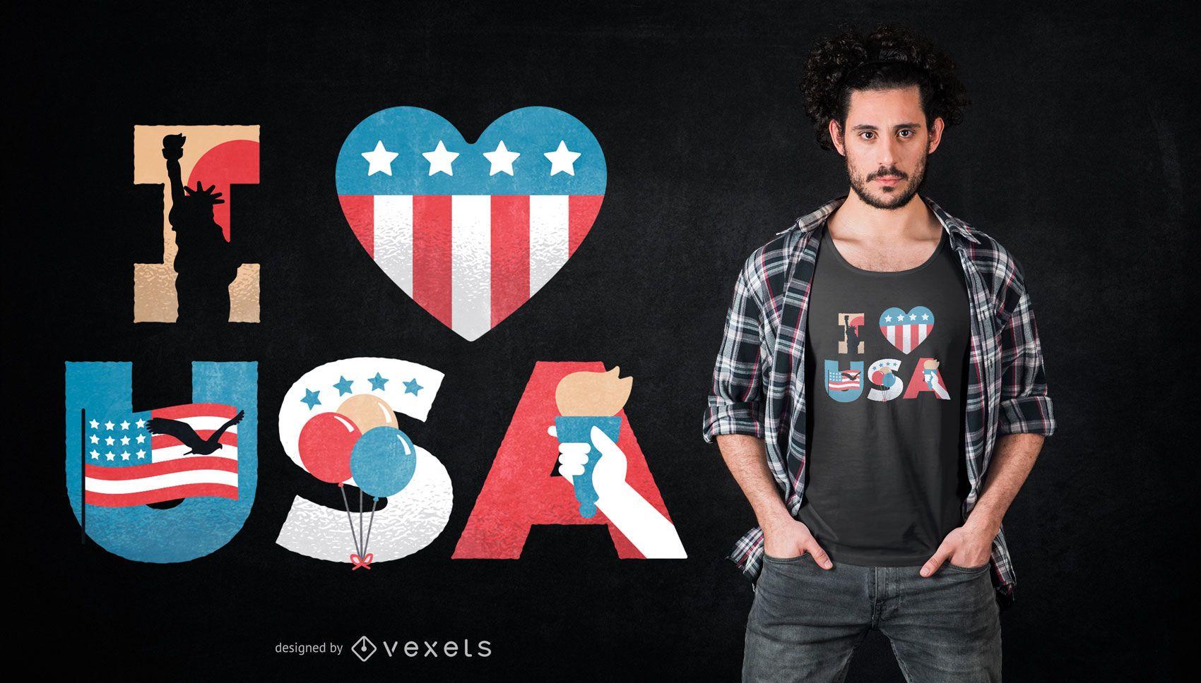 Diseño de camiseta de I Love USA