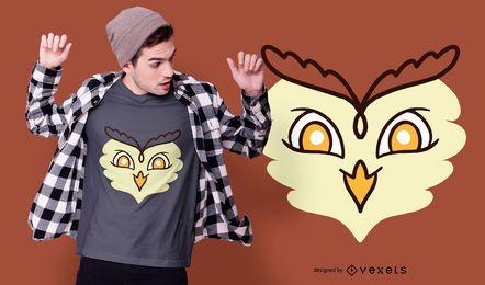 Diseño de camiseta de cara de búho