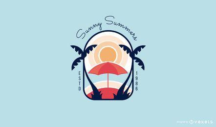Plantilla de logotipo de verano soleado