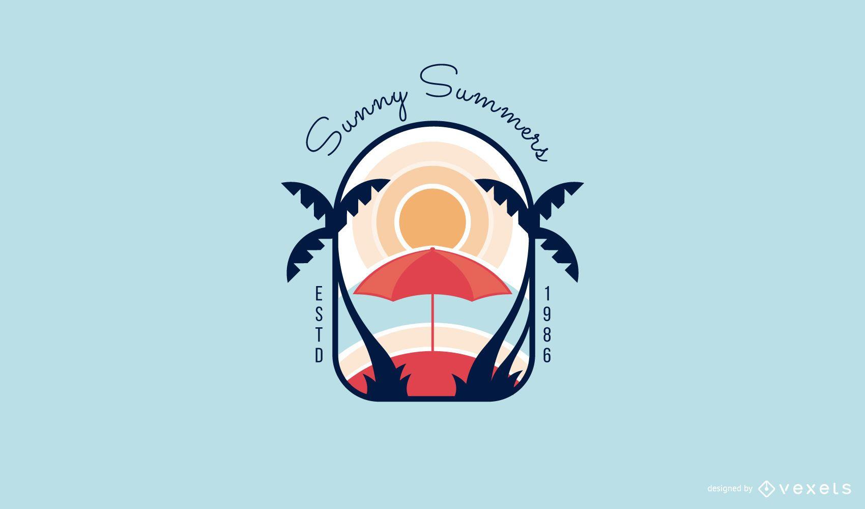 Modelo de logotipo de verão ensolarado