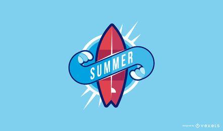 Sommer Surfbrett Logo Vorlage
