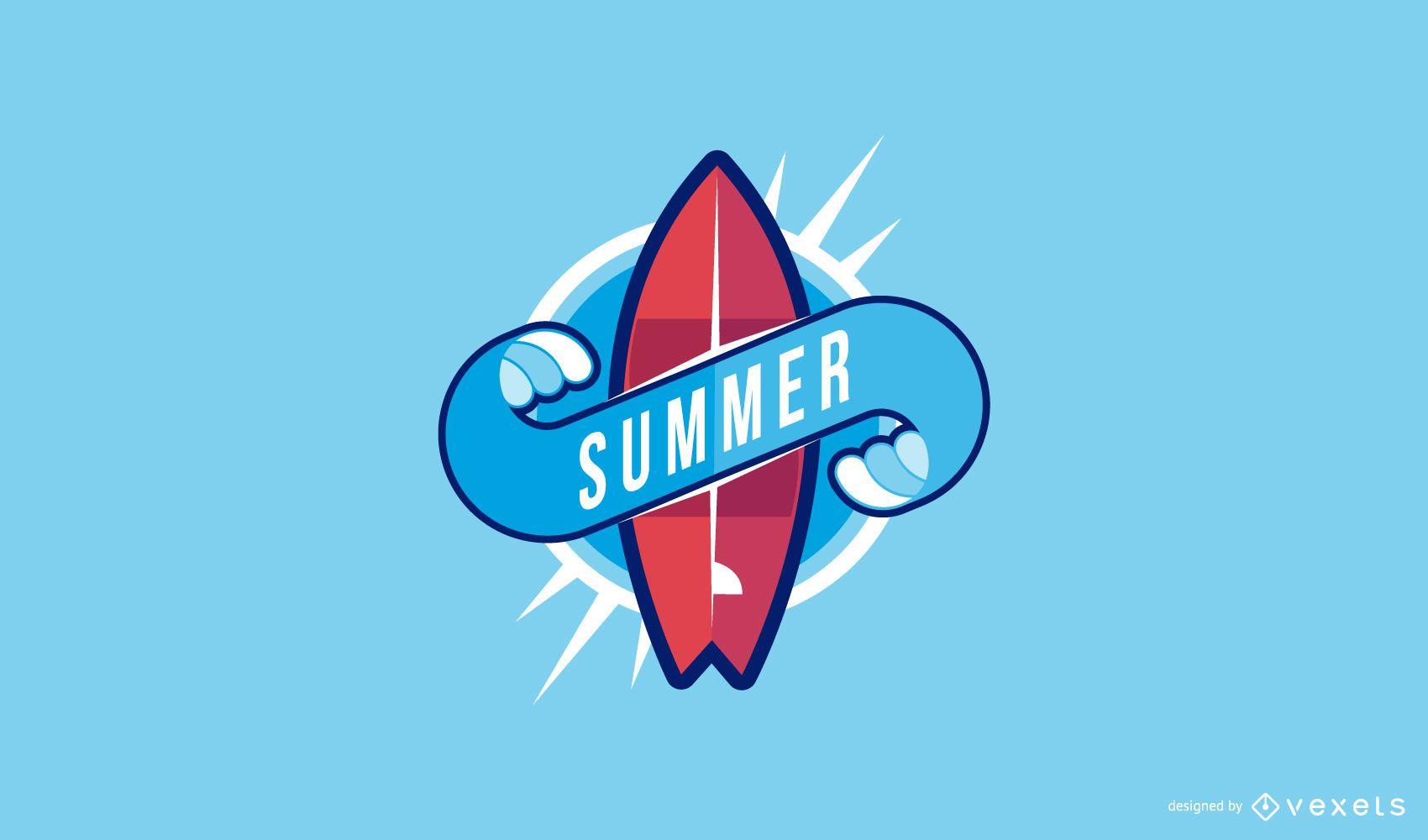 Summer surfboard logo template