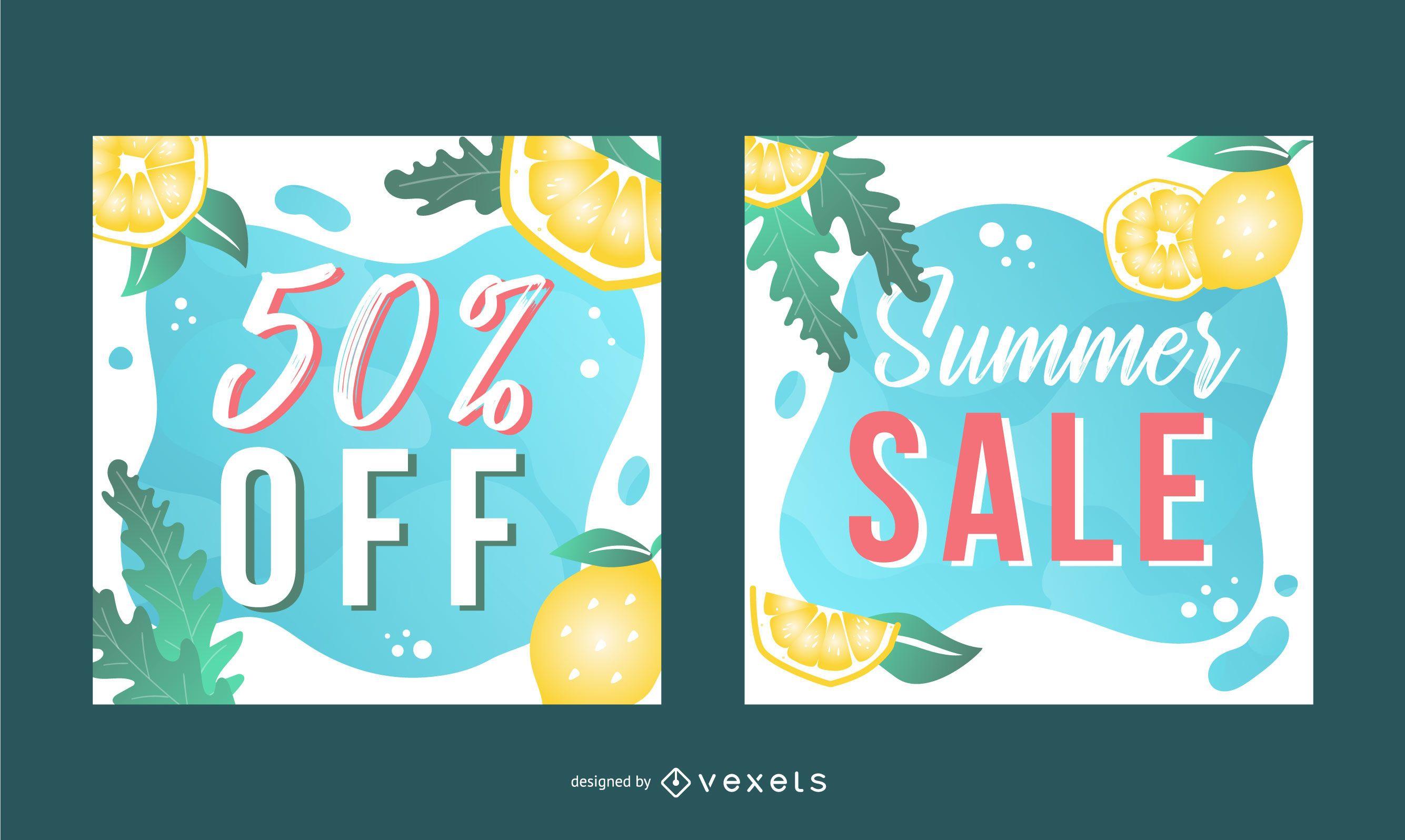 Conjunto de banners de venta cuadrada de verano