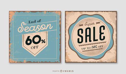 Pacote de banner de venda quadrado vintage