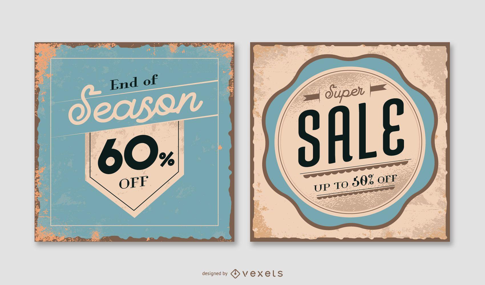 Pacote de banner vintage quadrado de venda